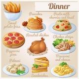 иконы еды установили обед иллюстрация штока