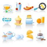 иконы завтрака Стоковое Изображение