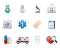 иконы здоровья внимательности медицинские иллюстрация вектора