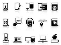 Иконы книг и e-книг цифров Стоковые Фотографии RF