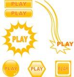 иконы кнопки лоснистые играют сеть Стоковая Фотография RF