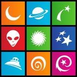 Иконы космоса типа метро Стоковые Изображения