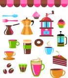 Иконы кофейни цветастые/комплект логоса Стоковая Фотография