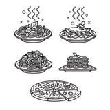 иконы кухни итальянские Стоковое Изображение RF