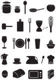 Иконы кухни установили, черные силуэты на белизне Стоковые Изображения RF