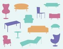 иконы мебели установили Стоковые Изображения RF