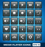 Иконы медиа-проигрывателя вектора Стоковое Изображение RF