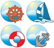 иконы морские Стоковые Изображения RF