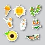 Иконы на теме лета иллюстрация штока