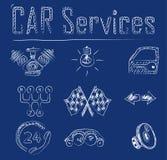 Иконы обслуживания автомобиля Стоковое фото RF