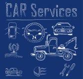 Иконы обслуживания автомобиля Стоковые Фотографии RF