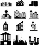 Иконы дома и здания стоковые фотографии rf