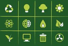 иконы относящих к окружающей среде графиков зеленые Стоковые Изображения RF
