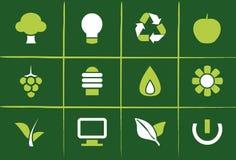 иконы относящих к окружающей среде графиков зеленые Стоковые Изображения