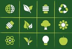 иконы относящих к окружающей среде графиков зеленые Стоковая Фотография RF