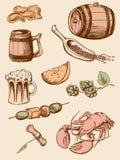 иконы пива установили сбор винограда Стоковое Изображение