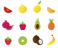 иконы плодоовощ изолировали сочную белизну комплекта Стоковое Изображение RF