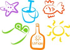 иконы пляжа иллюстрация вектора