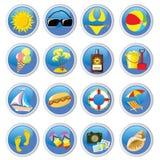 иконы пляжа Иллюстрация штока