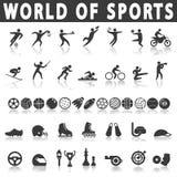 иконы пригодности 7 спортов силуэтов Стоковое Фото
