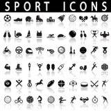 иконы пригодности 7 спортов силуэтов Стоковая Фотография