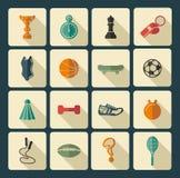 иконы пригодности 7 спортов силуэтов Стоковые Изображения RF