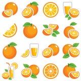 иконы плодоовощ померанцовые Стоковое Изображение
