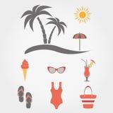 иконы пляжа установленные каникула перемещения бесплатная иллюстрация