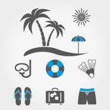 иконы пляжа установленные каникула перемещения иллюстрация штока