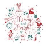 иконы рождества установили вектор Весело и ярко Помечать буквами руки каллиграфический бесплатная иллюстрация
