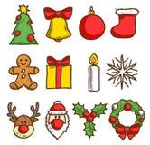 иконы рождества установили внезапный тип эскиза света компьтер-книжки Стоковые Фото