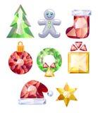 иконы рождества установили Красочные драгоценности Стоковые Изображения RF