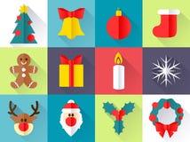 иконы рождества установили Плоский стиль Стоковые Фотографии RF