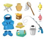 иконы рыболовства шаржа Стоковые Изображения RF