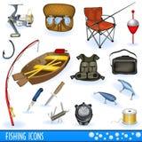 иконы рыболовства Стоковые Изображения