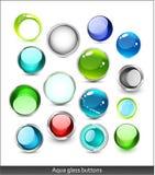иконы стекла собрания aqua Стоковое Изображение RF