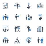Иконы управления и человеческих ресурсов - голубая серия Стоковая Фотография