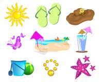 иконы установили лето Стоковое Изображение RF