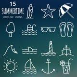иконы установили лето Значки плана вектора пиксела совершенные Стоковое фото RF