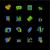 иконы финансов неоновые Стоковая Фотография