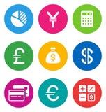 Иконы финансов цвета иллюстрация вектора