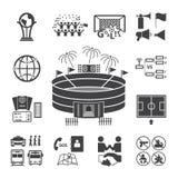 иконы футбола установили футбол Стоковые Изображения