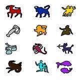 иконы Цветастые формы Все знаки зодиака иллюстрация вектора