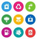 Иконы цвета относящие к окружающей среде Стоковые Изображения RF