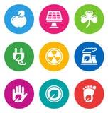 Иконы цвета относящие к окружающей среде Стоковая Фотография RF