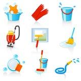 иконы чистки Стоковые Фото