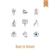 Иконы школы и образования Стоковое Изображение RF