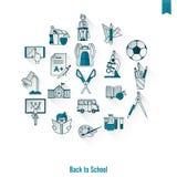 Иконы школы и образования Стоковое Изображение