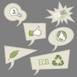 Иконы экологичности в пузырях речи. Стоковое Фото
