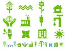 иконы экологичности зеленые Стоковая Фотография RF